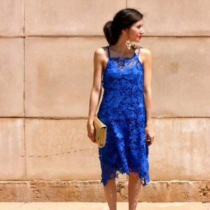Zara Cobalt Blue Lace Crochet A-Line Dress XS